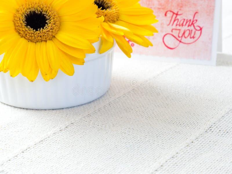 As flores amarelas do crisântemo com agradecem-lhe notar fotografia de stock royalty free
