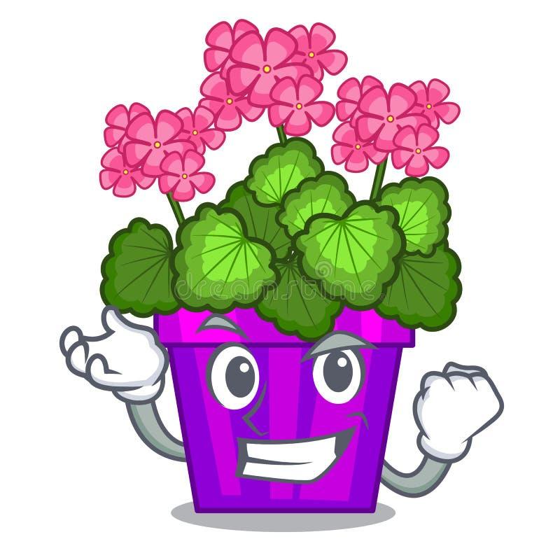 As flores bem sucedidas do gerânio colam a haste do caráter ilustração do vetor