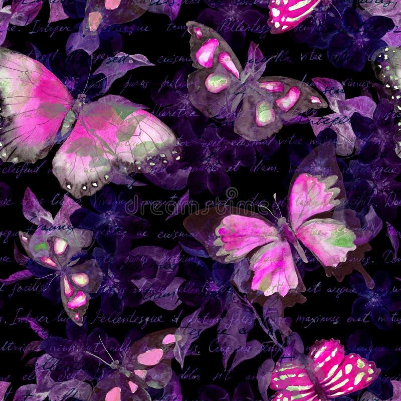 As flores, borboletas de incandescência, entregam a nota do texto escrito no fundo preto watercolor Teste padrão sem emenda ilustração do vetor