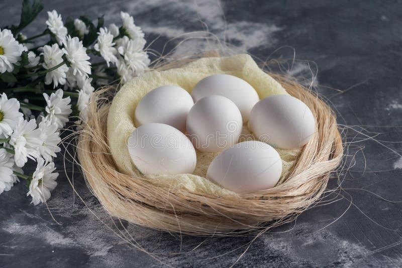 As flores brancas com galinha eggs no ninho no fundo de pedra cinzento Conceito do feriado da mola e da Páscoa com espaço da cópi foto de stock
