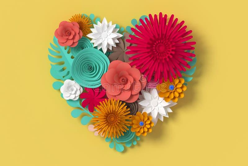 As flores coloridas são forma do coração, no fundo amarelo, a rendição 3d, com trajeto de grampeamento ilustração royalty free