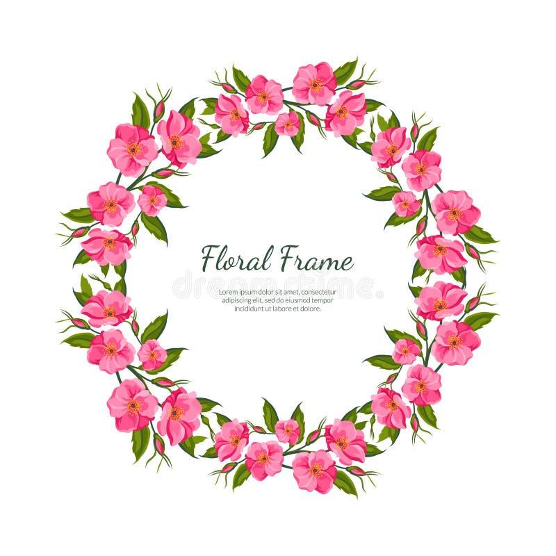 As flores cor-de-rosa arredondam o molde com flores de florescência, bandeira floral elegante do cartão do quadro, cartaz, convit ilustração do vetor