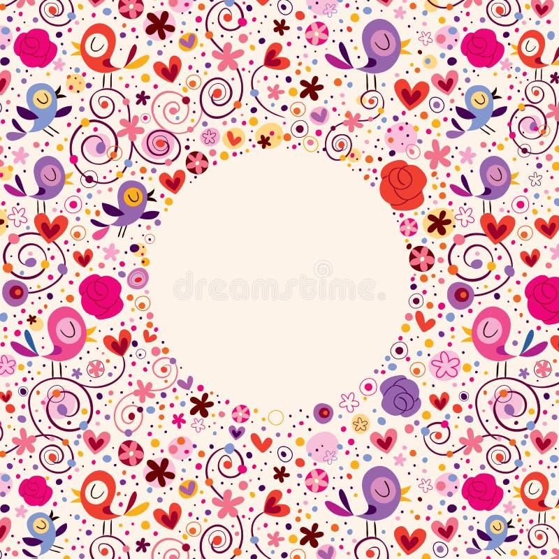 As flores, corações, pássaros amam o fundo do quadro do círculo da natureza ilustração royalty free