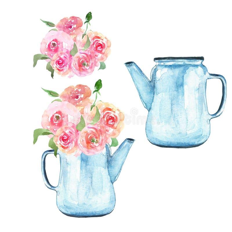As flores da aquarela ajustaram a ilustração no estilo do vintage Ramalhete floral na chaleira azul rústica isolada no fundo bran ilustração royalty free