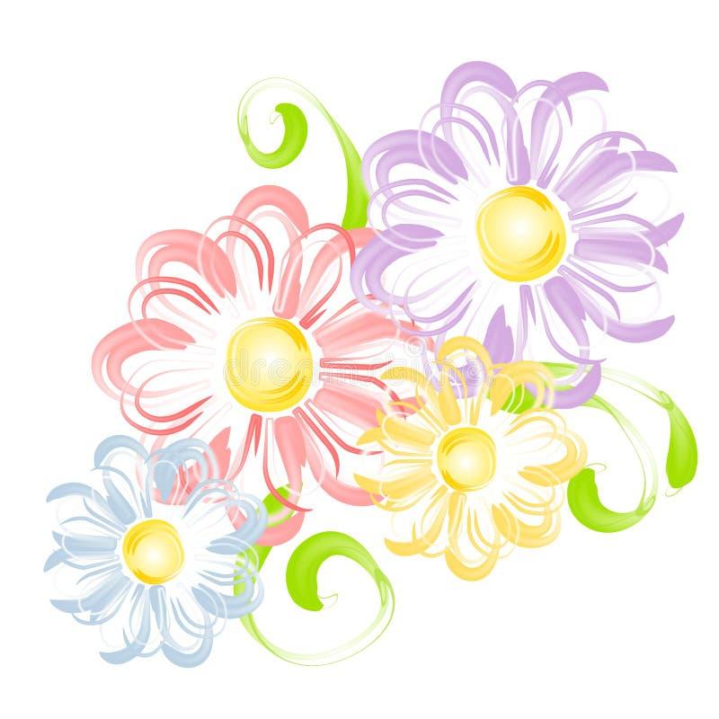 As flores da mola na pena escovam a arte de grampo ilustração do vetor