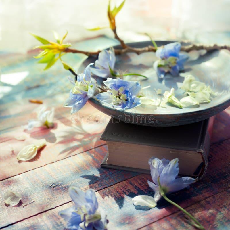 As flores da mola no prato de madeira ajustaram-se com um livro perto de uma janela fotografia de stock royalty free