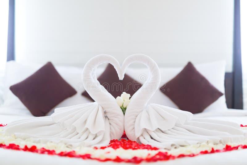 As flores da rosa do vermelho e as cisnes bonitas dos pares projetam da toalha de foto de stock royalty free