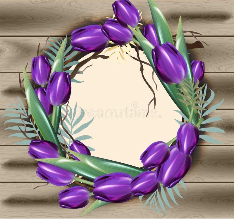 As flores da tulipa envolvem o vetor da decoração do quadro com texturas de madeira ilustração stock