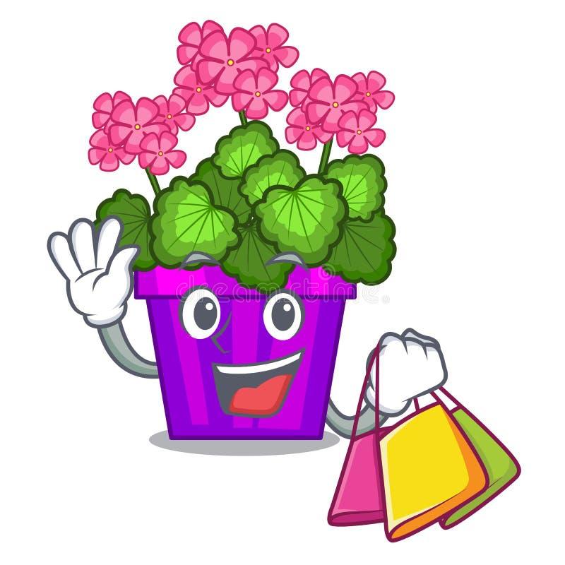 As flores de compra do gerânio colam a haste do caráter ilustração royalty free
