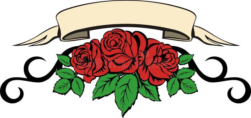 As flores de levantaram-se com bandeira ilustração do vetor