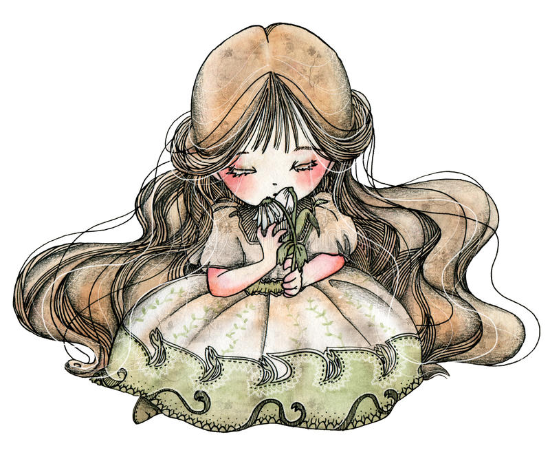 AS FLORES de POUCO IDA - IDA com flores ilustração do vetor