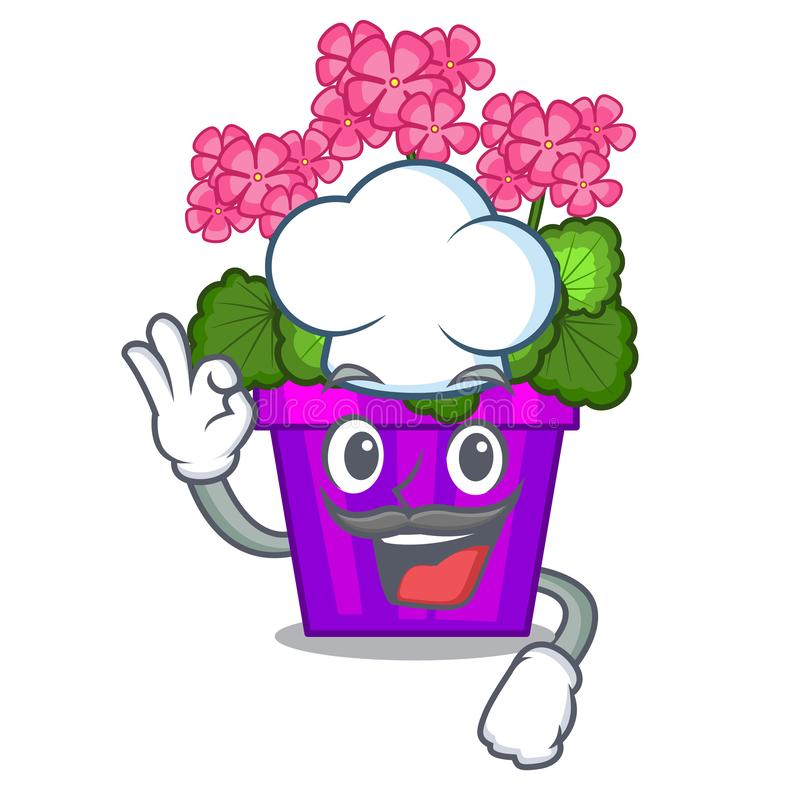 As flores do gerânio do cozinheiro chefe colam a haste do caráter ilustração royalty free