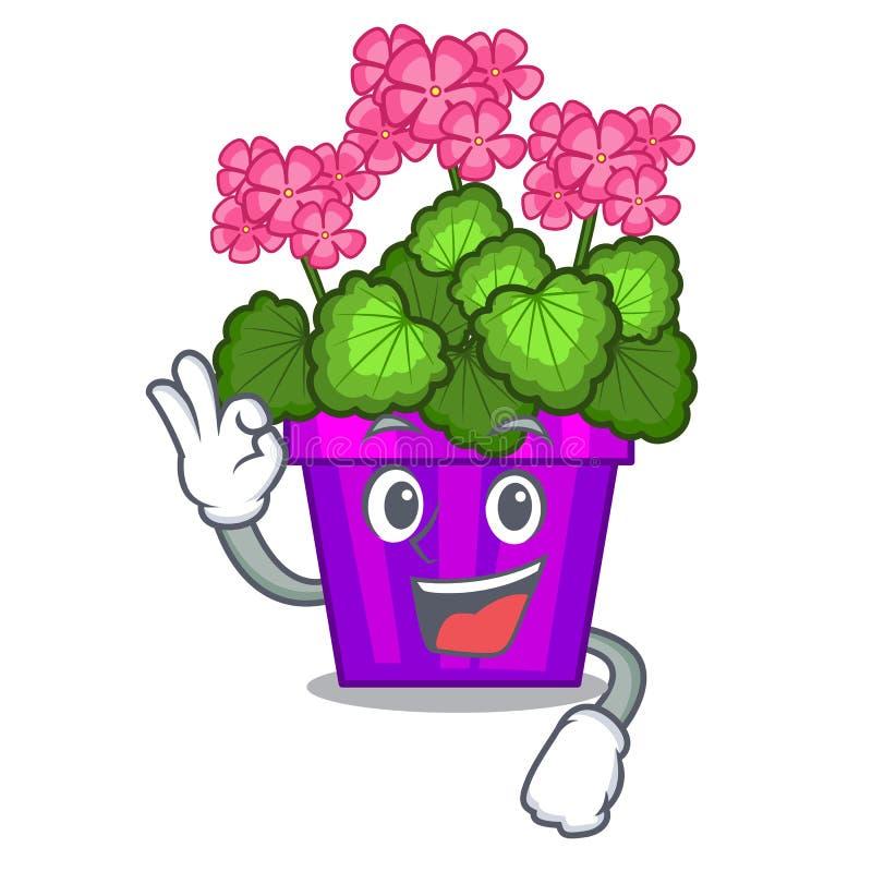 As flores do gerânio da aprovação colam a haste do caráter ilustração stock