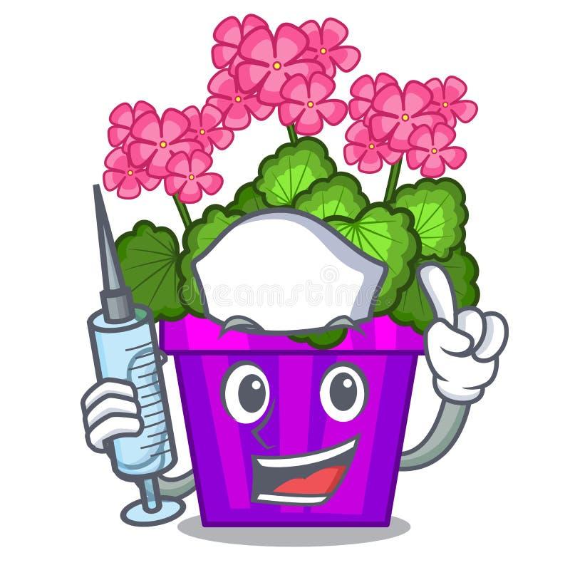 As flores do gerânio da enfermeira colam a haste do caráter ilustração do vetor