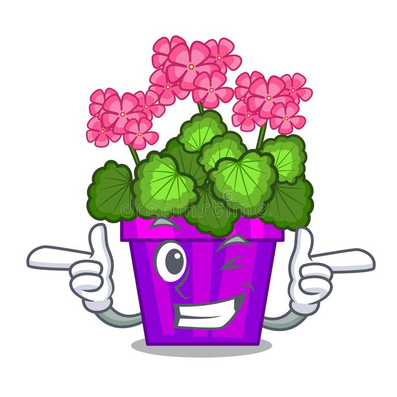 As flores do gerânio da piscadela colam a haste do caráter ilustração stock