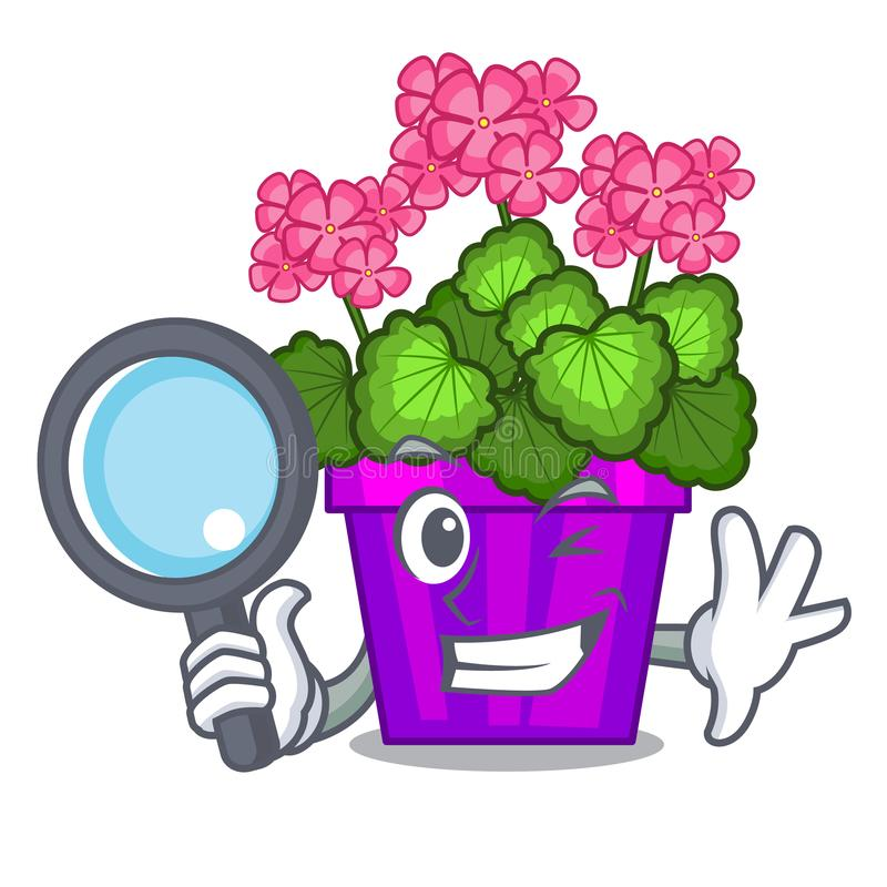 As flores do gerânio do detetive colam a haste do caráter ilustração stock