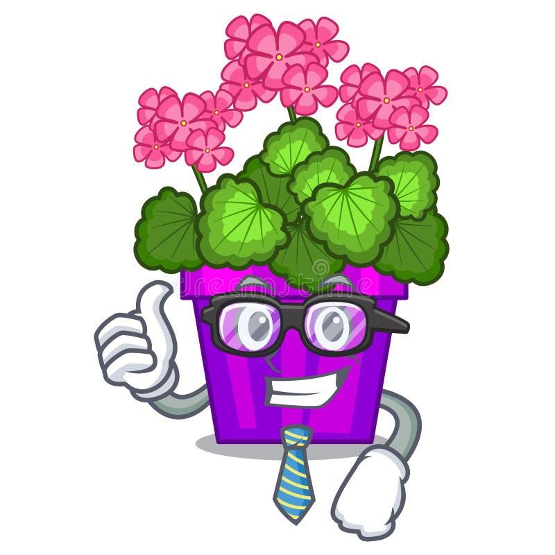 As flores do gerânio do homem de negócios colam a haste do caráter ilustração stock