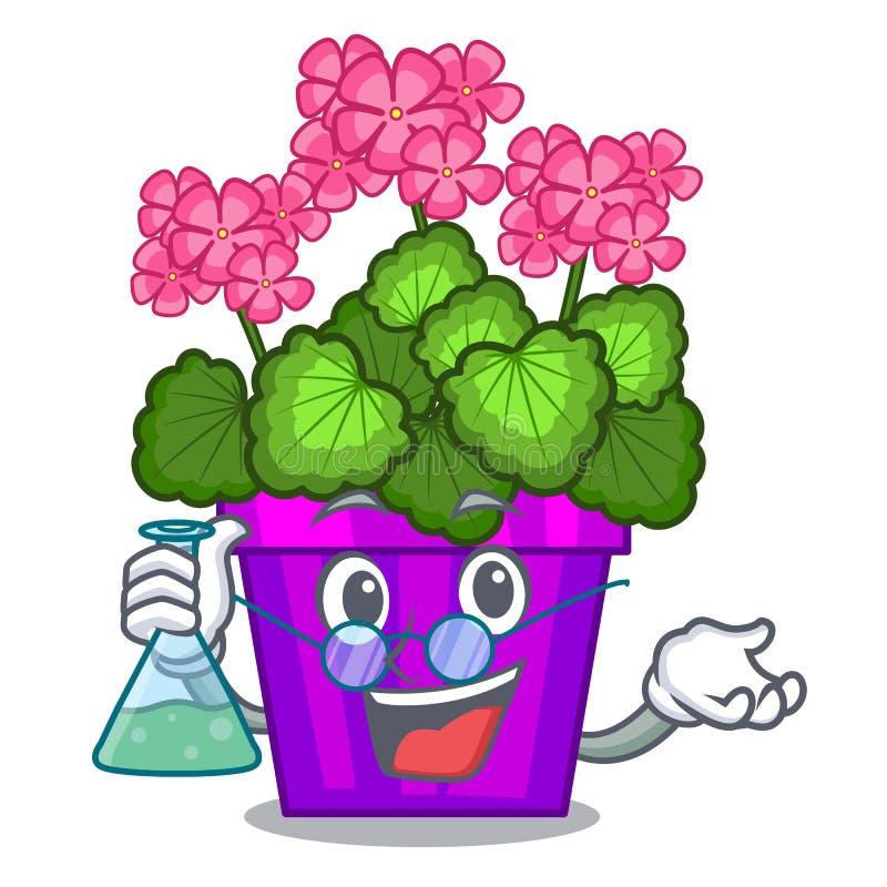 As flores do gerânio do professor colam a haste do caráter ilustração royalty free