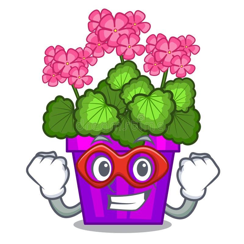 As flores do gerânio do super-herói colam a haste do caráter ilustração royalty free