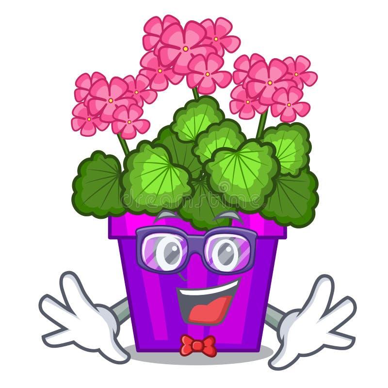 As flores do gerânio do totó colam a haste do caráter ilustração do vetor