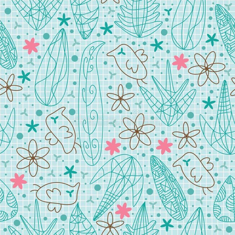 As flores do pássaro alinham a tração Pattern.eps sem emenda ilustração do vetor