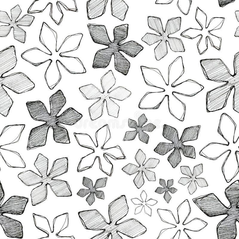 As flores do teste padr?o alinham em um fundo branco ilustração stock