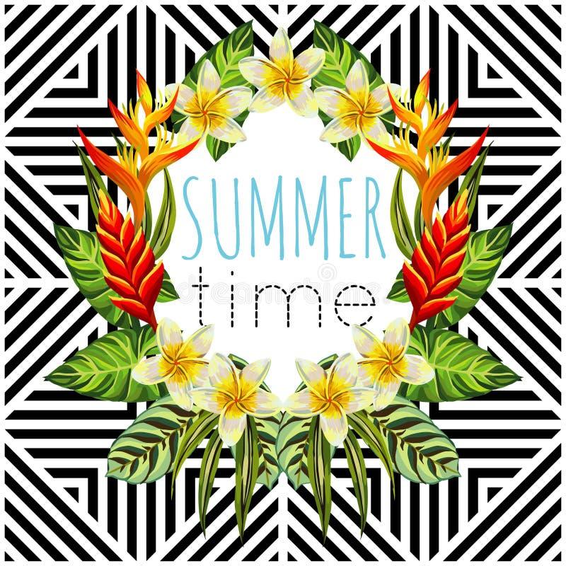 As flores e as folhas tropicais espelham o fundo redondo, geométrico ilustração royalty free
