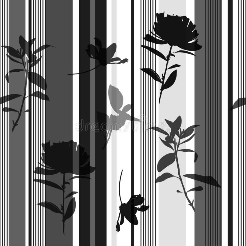 As flores e as folhas pretas tiradas sem emenda monótonos da silhueta da cópia da listra moderna preta e cinzenta disponível mode ilustração royalty free
