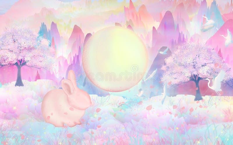 As flores e a Lua cheia, animais pequenos na floresta estão jogando felizmente, pássaros estão voando na selva ilustração do vetor