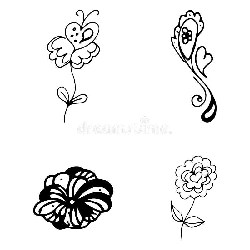 As flores e os cora??es entregam a cole??o tirada da garatuja isolada no fundo branco 4 elementos gr?ficos florais grupo grande d ilustração do vetor