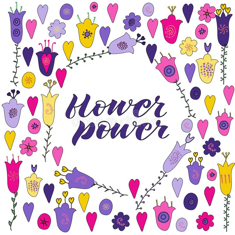 As flores e os corações tirados mão rabiscam Flores cor-de-rosa, roxas, amarelas Rotulação de flower power ilustração do vetor