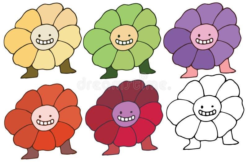 As flores felizes do grupo de cor do monstro da garatuja dos desenhos animados da cópia entregam a tração ilustração stock