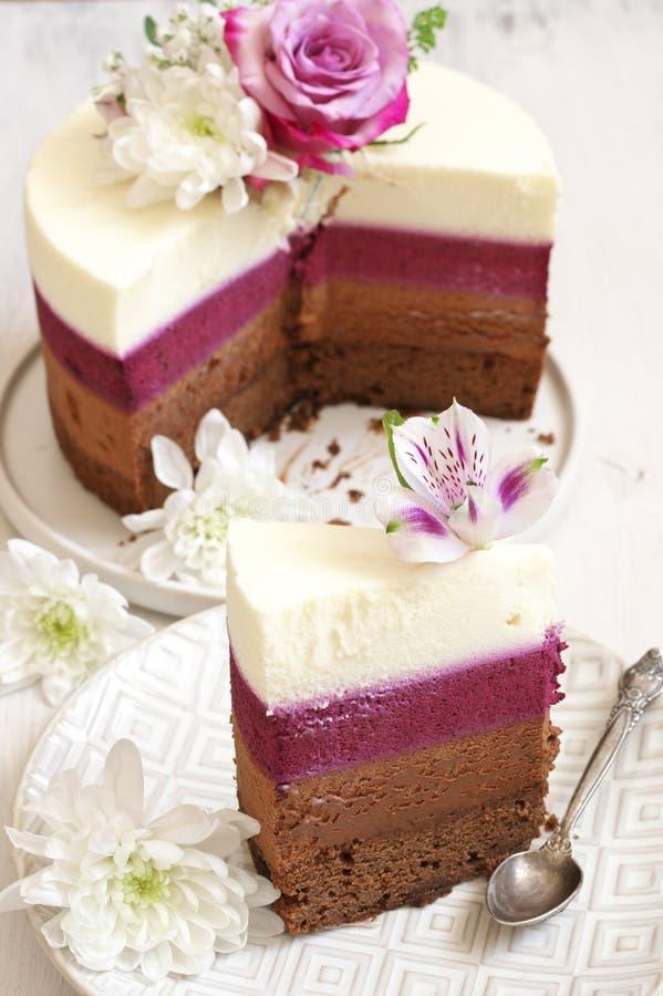 As flores frescas decoraram o bolo mergulhado fotografia de stock royalty free