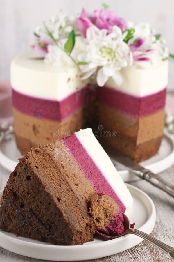 As flores frescas decoraram o bolo mergulhado imagens de stock royalty free