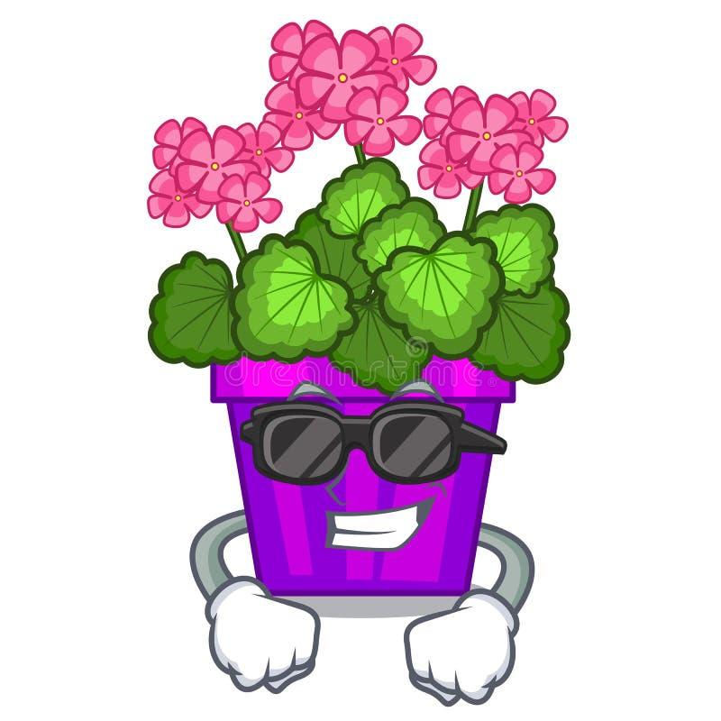 As flores frescas super do gerânio colam a haste do caráter ilustração do vetor