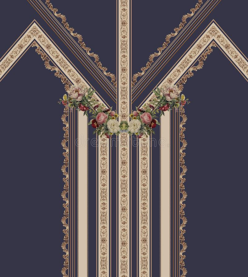 As flores geométricas projetam linhas azuis formam a textura bonita da tela da ilustração do estilo ilustração do vetor