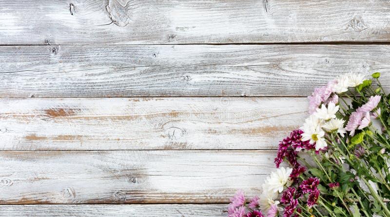 As flores misturadas no canto direito inferior no branco resistiram a b de madeira imagens de stock