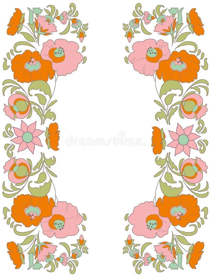 As flores na arte popular branca do fundo denominam o illustr floral do vetor do fundo do vintage do teste padrão de flor de Folk ilustração royalty free