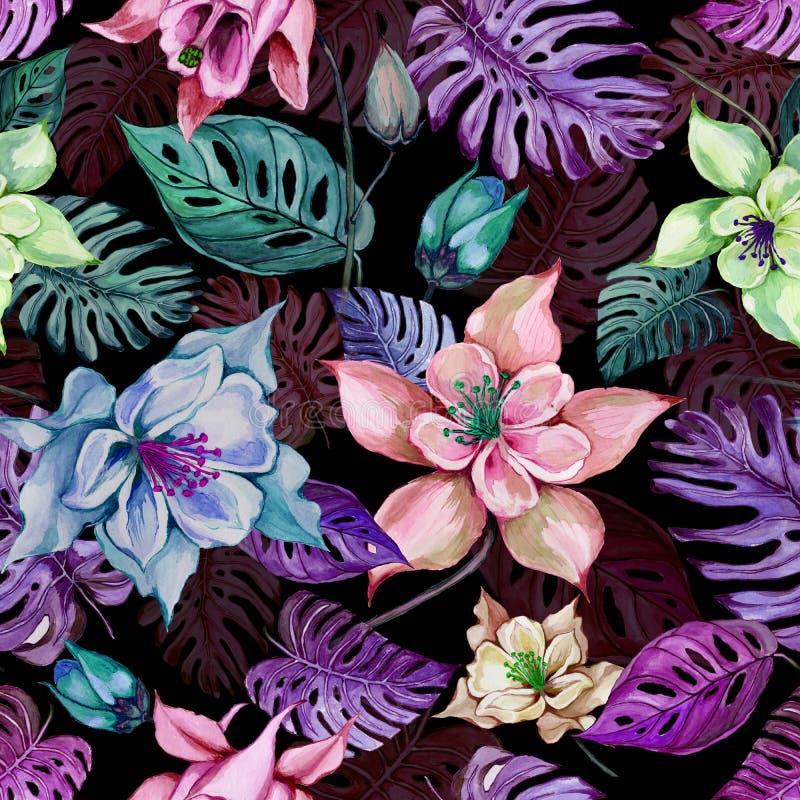As flores ou o aquilegia aquilégia bonito e o monstera exótico saem no fundo preto Pintura da aguarela ilustração stock
