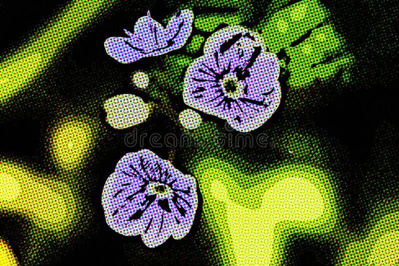 As flores pequenas azuis fecham a grama ascendente e verde ilustração royalty free
