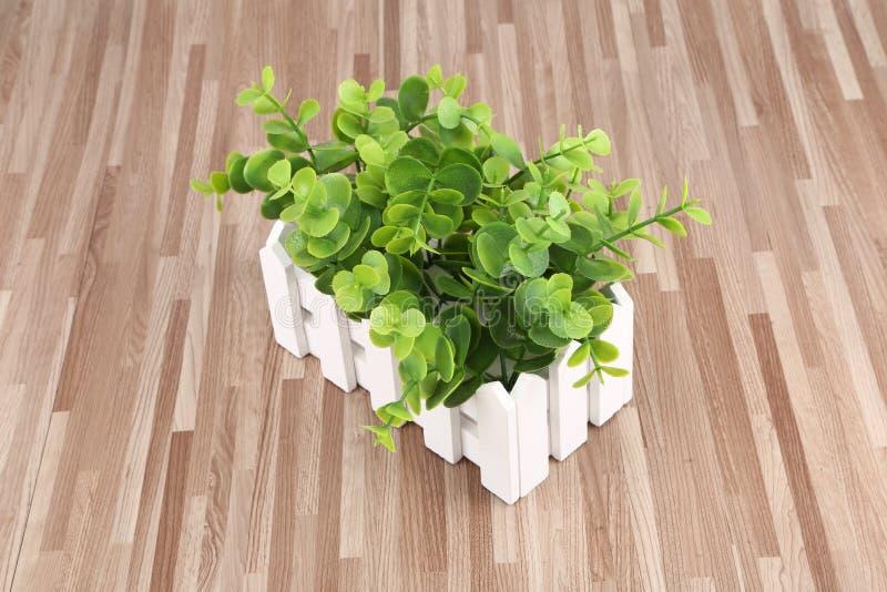 As flores plásticas, plantas verdes, decorações, protegem as folhas verdes dos olhos imagem de stock
