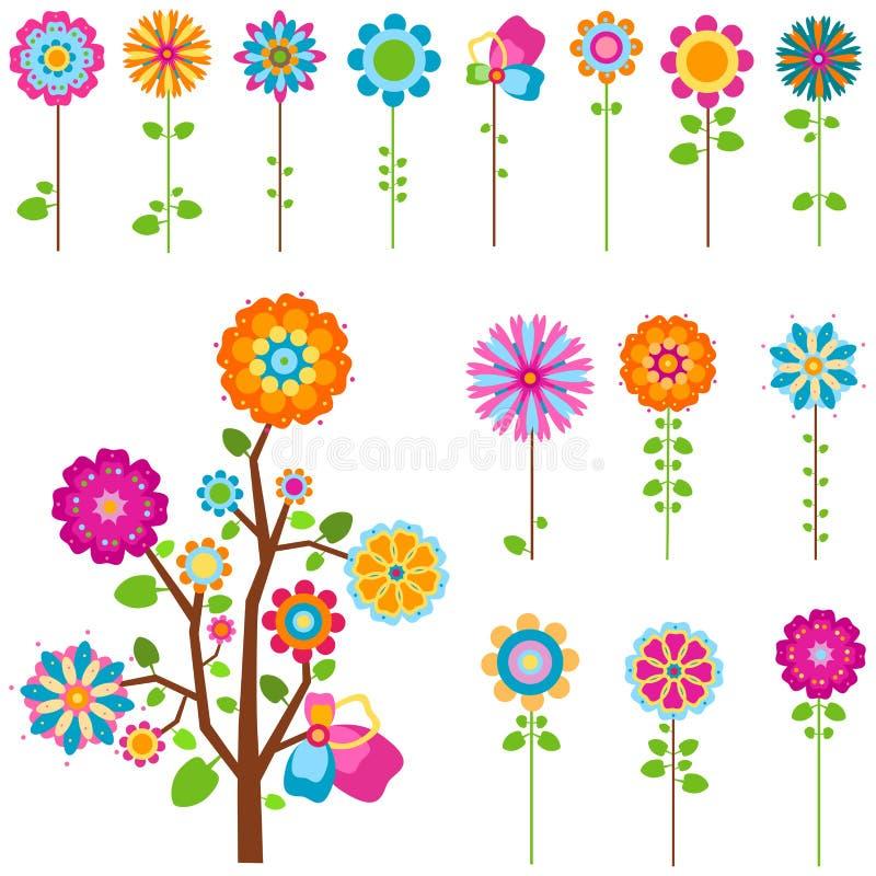 As flores retros ajustaram-se ilustração stock