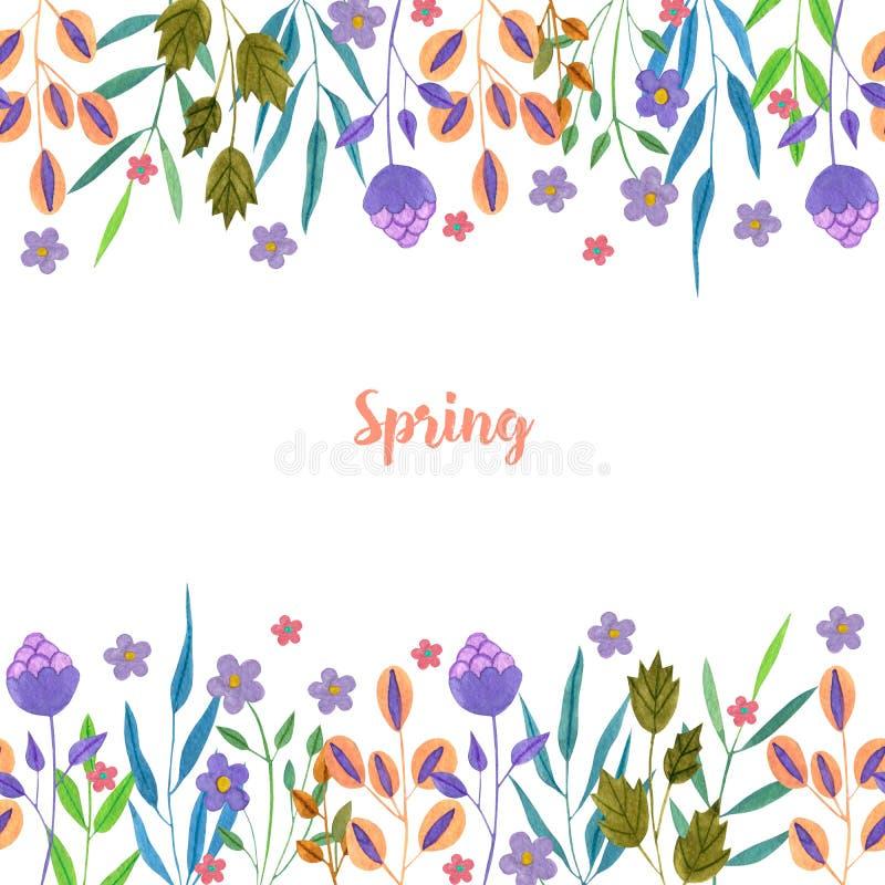 As flores roxas simples da mola e do verão da aquarela e os ramos verdes cardam o molde ilustração do vetor