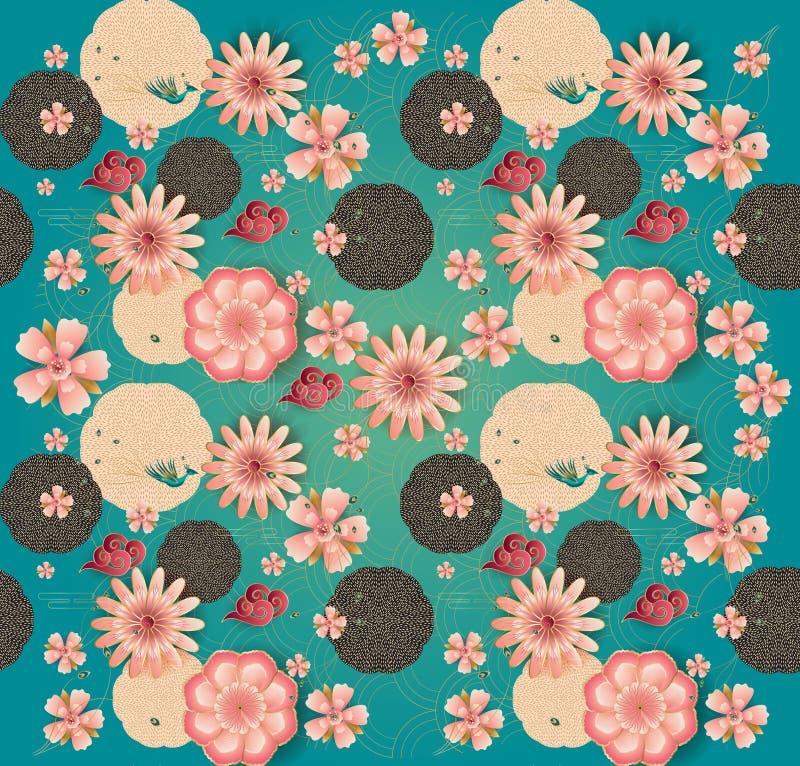 As flores tradicionais chinesas do jardim da mola do ano novo do teste padrão floral florescem sakuras ilustração stock