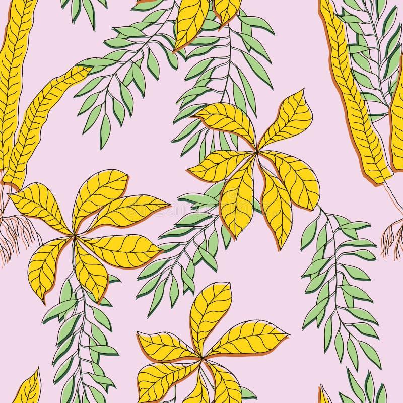 As flores tropicais, selva saem, pássaro da flor de paraíso ilustração royalty free