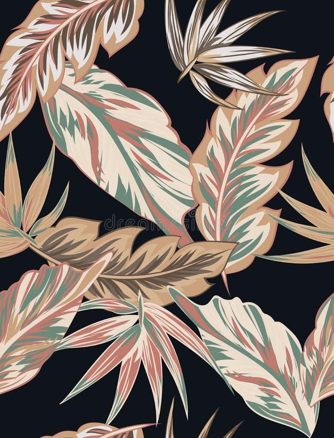 As flores tropicais, selva saem, pássaro da flor de paraíso ilustração do vetor