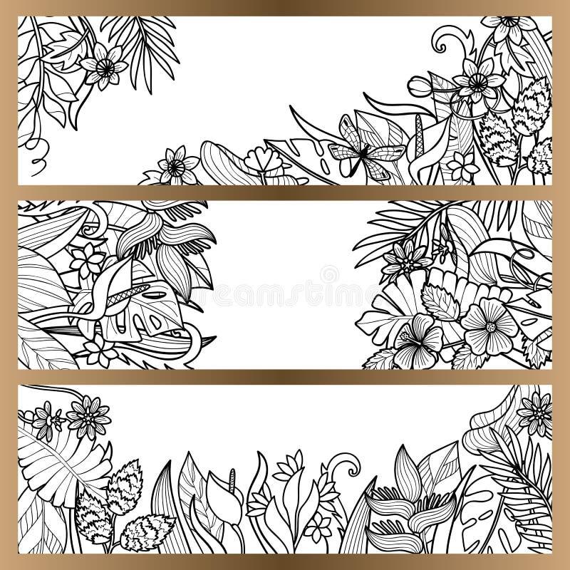 As flores tropicais zombam acima do grupo da bandeira ilustração do vetor