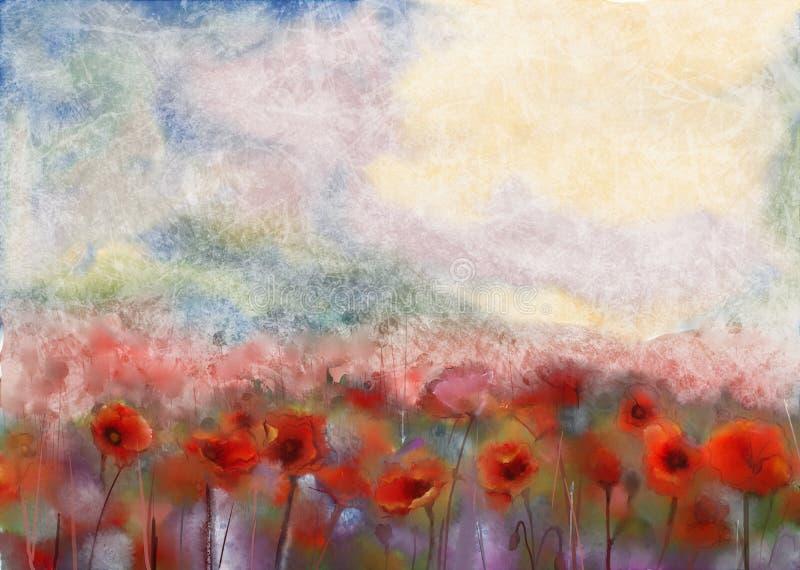 As flores vermelhas da papoila arquivaram a pintura da cor de água ilustração stock
