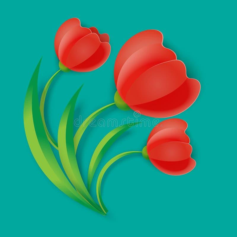 As flores vermelhas da tulipa do fundo três com verde saem da ilustração do vetor ilustração do vetor