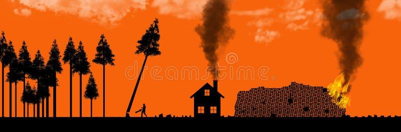 As florestas de corte claras, o uso ou o abuso de recursos naturais são o assunto desta ilustração Árvores mostradas em silhueta, ilustração stock